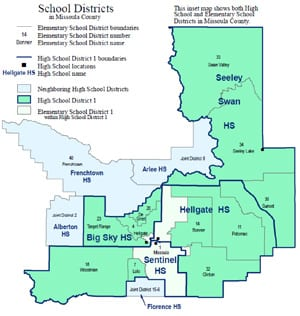 Map of School Districts in Missoula County